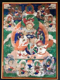 Framed Tibetan Thangka Vaisravana Jambhala - 1418405