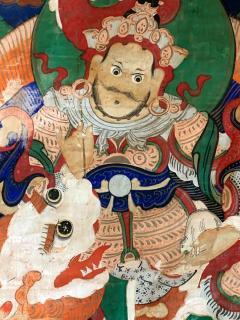 Framed Tibetan Thangka Vaisravana Jambhala - 1418417
