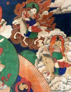 Framed Tibetan Thangka Vaisravana Jambhala - 1418420