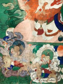 Framed Tibetan Thangka Vaisravana Jambhala - 1418421