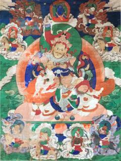 Framed Tibetan Thangka Vaisravana Jambhala - 1418444