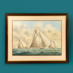 Framed watercolour of 15 metre class yachts - 828462