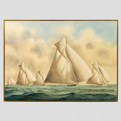 Framed watercolour of 15 metre class yachts - 828463