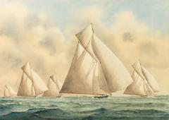 Framed watercolour of 15 metre class yachts - 897960
