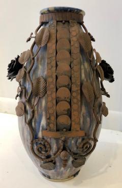 Fran ois Carion Monumental Roger Guerin Vase with Fran ois Carion Ironwork - 1106971