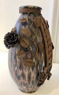 Fran ois Carion Monumental Roger Guerin Vase with Fran ois Carion Ironwork - 1106976