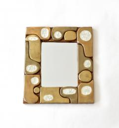Fran ois Lembo Francois Lembo French Ceramic and Fused Glass Mirror - 1316657
