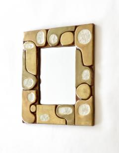 Fran ois Lembo Francois Lembo French Ceramic and Fused Glass Mirror - 1316658