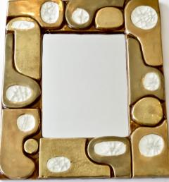 Fran ois Lembo Francois Lembo French Ceramic and Fused Glass Mirror - 1316660