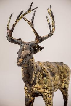 Fran ois Melin Deer sculpture in oxydised brass by Fran ois Melin 1970 - 1517011
