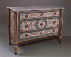 Francesco Bolgie A Painted and Parcel Gilded Wood Chest of Drawers with a White Marble Top - 114361