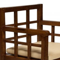 Francis Jourdain Rare Pair Gridded Armchairs in Palm Wood by Francis Jourdain - 763282