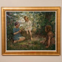 Francis Patrick Martin Vintage Oil Painting of 3 Girls Stringing Flowers Francis Martin - 1072065