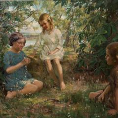 Francis Patrick Martin Vintage Oil Painting of 3 Girls Stringing Flowers Francis Martin - 1072067