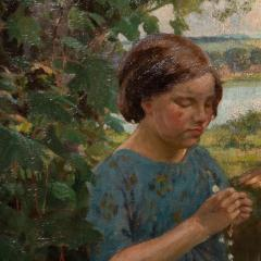 Francis Patrick Martin Vintage Oil Painting of 3 Girls Stringing Flowers Francis Martin - 1072069