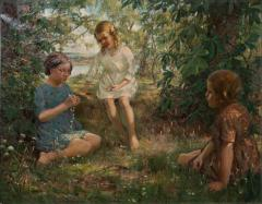 Francis Patrick Martin Vintage Oil Painting of 3 Girls Stringing Flowers Francis Martin - 1072979