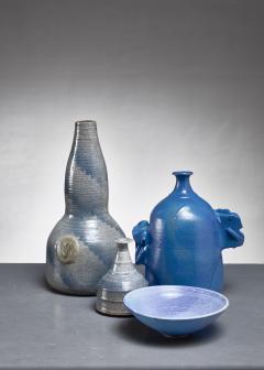 Franco Agnese Franco Agnese set of four blue and grey ceramic pieces France 1960s - 902585