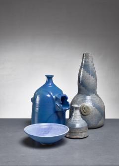 Franco Agnese Franco Agnese set of four blue and grey ceramic pieces France 1960s - 902586