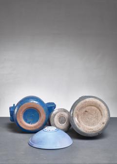 Franco Agnese Franco Agnese set of four blue and grey ceramic pieces France 1960s - 902587