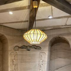 Franco Albini French Pendant Bamboo Rice Paper Bubble Lamp after Franco Albini France 1960s - 2086233