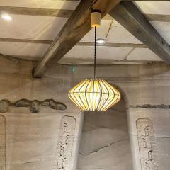 Franco Albini French Pendant Bamboo Rice Paper Bubble Lamp after Franco Albini France 1960s - 2086234