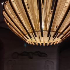 Franco Albini French Pendant Bamboo Rice Paper Bubble Lamp after Franco Albini France 1960s - 2086237