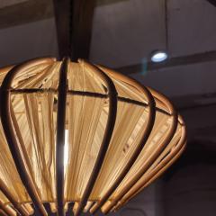 Franco Albini French Pendant Bamboo Rice Paper Bubble Lamp after Franco Albini France 1960s - 2086238