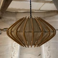 Franco Albini French Pendant Bamboo Rice Paper Bubble Lamp after Franco Albini France 1960s - 2086239