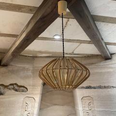 Franco Albini French Pendant Bamboo Rice Paper Bubble Lamp after Franco Albini France 1960s - 2086240