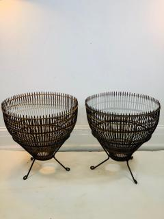 Franco Albini PAIR OF MID CENTURY FRANCO ALBINI RATTAN AND BLACK IRON END TABLES - 1179548