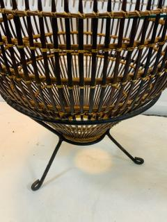 Franco Albini PAIR OF MID CENTURY FRANCO ALBINI RATTAN AND BLACK IRON END TABLES - 1179550