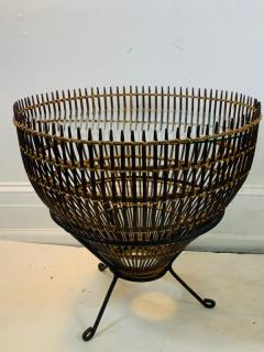 Franco Albini PAIR OF MID CENTURY FRANCO ALBINI RATTAN AND BLACK IRON END TABLES - 1179561