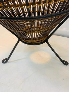 Franco Albini PAIR OF MID CENTURY FRANCO ALBINI RATTAN AND BLACK IRON END TABLES - 1179562