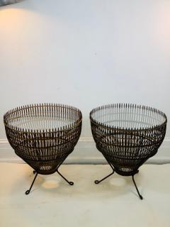 Franco Albini PAIR OF MID CENTURY FRANCO ALBINI RATTAN AND BLACK IRON END TABLES - 1179563