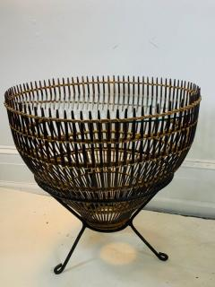 Franco Albini PAIR OF MID CENTURY FRANCO ALBINI RATTAN AND BLACK IRON END TABLES - 1179564