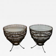 Franco Albini PAIR OF MID CENTURY FRANCO ALBINI RATTAN AND BLACK IRON END TABLES - 1180480