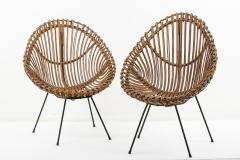 Franco Albini Pair of 1960s rattan chairs attributed to Franco Albini - 1504593