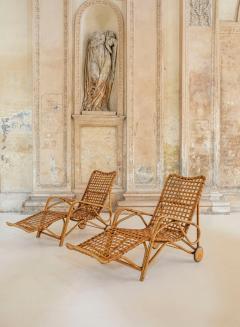 Franco Albini Rare Pair of Wicker Chaise Longues - 1572988