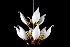 Franco Luce Fantastic Franco Luce for Seguso Murano Glass and Brass Chandelier 1970s - 1445643