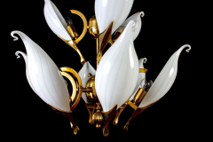 Franco Luce Fantastic Franco Luce for Seguso Murano Glass and Brass Chandelier 1970s - 1445648