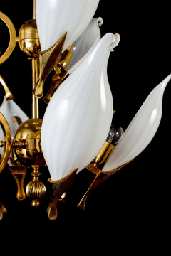 Franco Luce Fantastic Franco Luce for Seguso Murano Glass and Brass Chandelier 1970s - 1445649