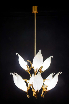 Franco Luce Fantastic Franco Luce for Seguso Murano Glass and Brass Chandelier 1970s - 1445659