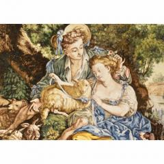 Francois Boucher 1870s French Rococo Revival Yellow Blue White Enamel Pottery Wall Art Plaque - 1100687