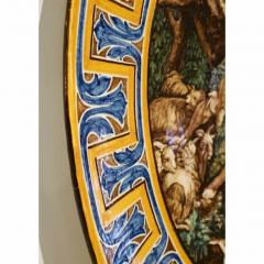Francois Boucher 1870s French Rococo Revival Yellow Blue White Enamel Pottery Wall Art Plaque - 1100692