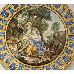 Francois Boucher 1870s French Rococo Revival Yellow Blue White Enamel Pottery Wall Art Plaque - 1100693