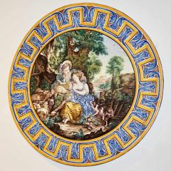 Francois Boucher 1870s French Rococo Revival Yellow Blue White Enamel Pottery Wall Art Plaque - 1100694