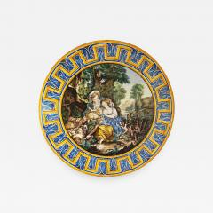 Francois Boucher 1870s French Rococo Revival Yellow Blue White Enamel Pottery Wall Art Plaque - 1100875