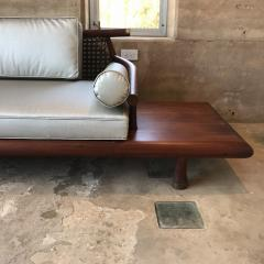 Frank Kyle FRANK KYLE Fabulous Floating Mahogany Sofa attached Side Tables Mexico 1950s - 1545589