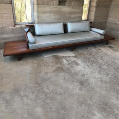 Frank Kyle FRANK KYLE Fabulous Floating Mahogany Sofa attached Side Tables Mexico 1950s - 1545591