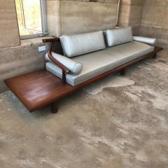 Frank Kyle FRANK KYLE Fabulous Floating Mahogany Sofa attached Side Tables Mexico 1950s - 1545593